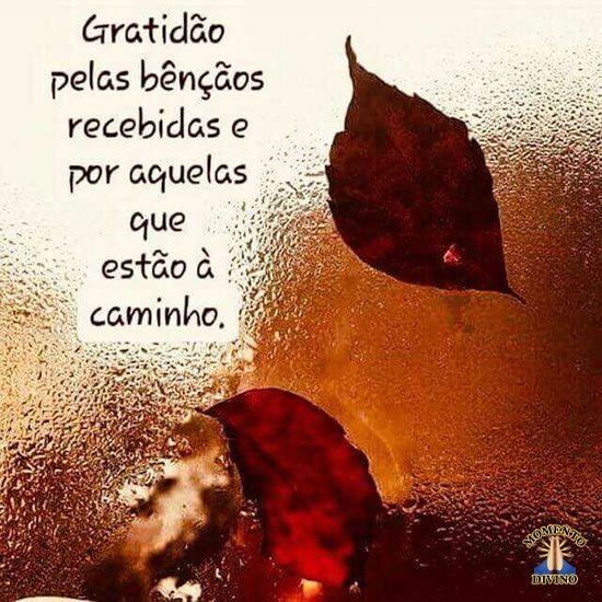 Gratidão pelas bênçãos que estão à caminho
